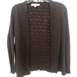 LOFT Dark Purple Long Sleeve Cardigan